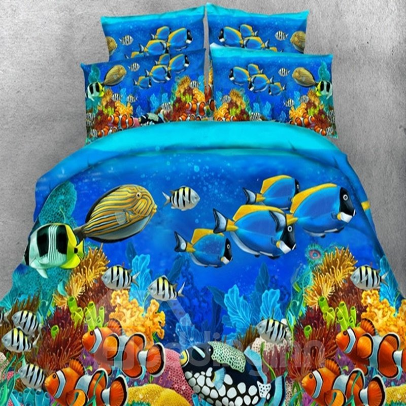 3d Sea Fish Printed Tencel 5 Piece Comforter Sets Pic