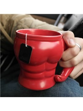 Red Modern Creative MuscleNerd Shape Ceramic Heat Resistant Coffee Mug