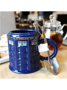 Blue Ceramic Police Box Shape Modern Style Heat Resistant Handmade Coffee Mug