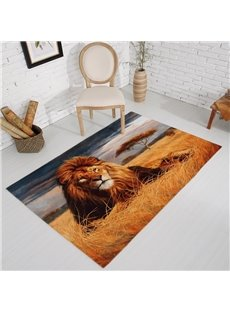 Rectangle Vivid Lion Pattern Antiskid Washable Home Decorative Area Rug