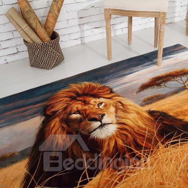 Rectangle Vivid Lion Pattern Antiskid Washable Home Decorative Area Rug