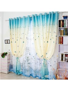 Cute Cartoon Floral Printing Custom Curtain