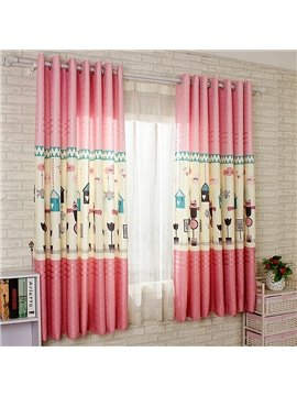 Pink Cartoon World Printing Energy Saving Custom Curtain