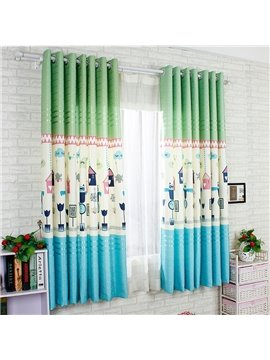 Blue Cartoon World Printing Energy Saving Custom Curtain