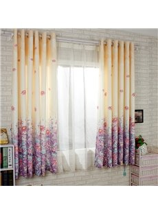 Gorgeous Purple Floral Printing Energy Saving Custom Curtain