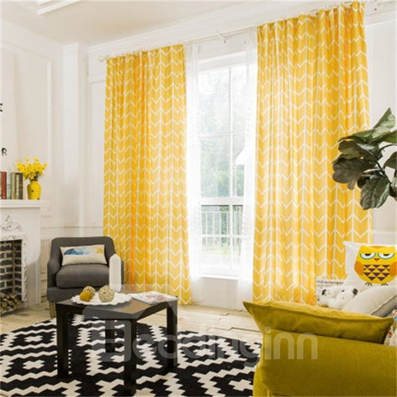 Contemporary Yellow Stripes Printing Cotton And Linen Blending Blackout Custom Double Pinch Pleat 60% Shading Rate Good Ultraviolet-proof Effect With Free Hooks