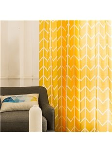 Modern Concise Window Decoration Yellow Cotton and Linen Blending Custom Curtain