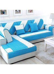 White and Blue Dots Pattern Cushion Slip Resistant Washable Four Seasons Sofa Cover