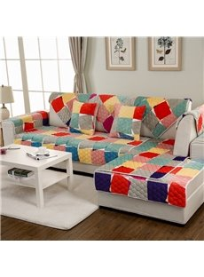 Colorful Amusing Irregular Grid Print Decorative Double-sided Slip Resistant 1 Piece Sofa Cover