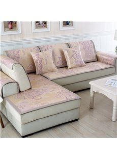 Practical Silky Flower Print Four Seasons Living Room Decoration Slip Resistant Sofa Cover