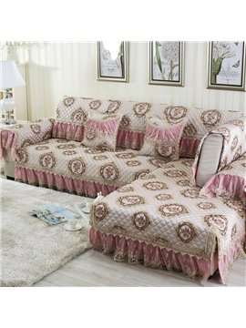 Elegant European Style Flowers Print Slip Resistant Washable Decorative Sofa Cover