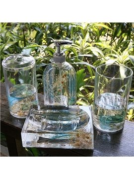 Creative Sea World Design 4-Pieces Organic Glass Bathroom Accessories