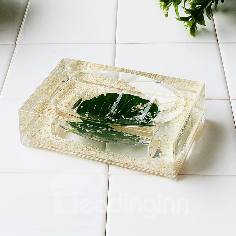 Creative Green Leaf Design 4-Pieces Organic Glass Bathroom Accessories