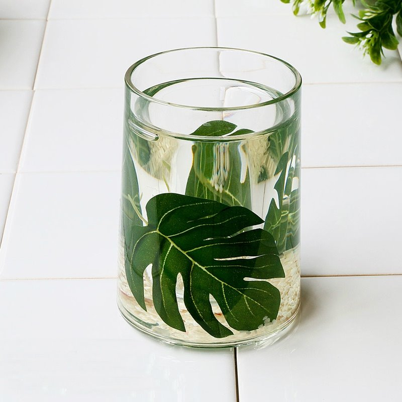 Gentil 75 Creative Green Leaf Design 4 Pieces Organic Glass Bathroom Accessories