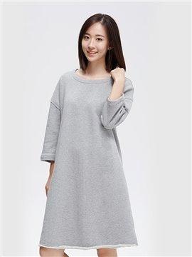 Unknit Loose Knit Dress Elegant Solid Long Skirt Home Dress