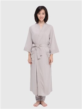 Cardigan Type Lace Loose Long Style Solid Nightgown Pajamas Home Dress