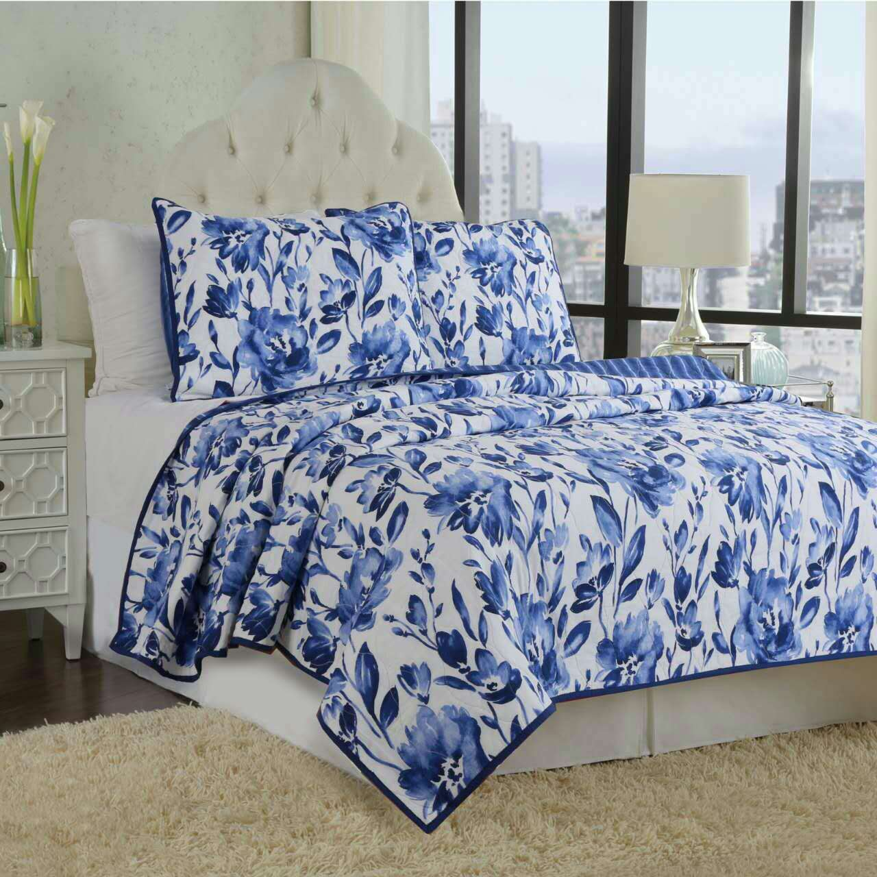 Blue Peony Print Patchwork Cotton King Size 3 Piece Bed In