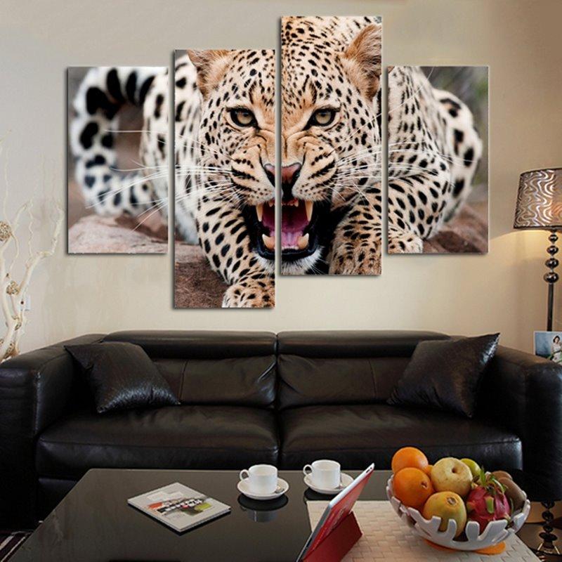Magnificent Modern Design Leopard Pattern 4 Pieces Framed Wall Art Prints
