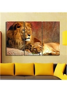 Fancy Modern European Style Realistic Lions Pattern 3 Pieces None Framed Wall Art Prints