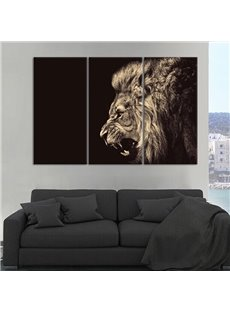 12×24in×3 Panels Roaring Lion on Black Background Hanging Canvas Waterproof Eco-friendly Framed Prints