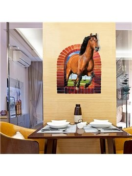 Amazing Creative Design Horse in Blank Window Decorative 3D Wall Stickers