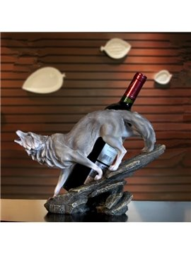Modern Creative Cool Wolf Shape Design Resin Home Decoration Wine Rack