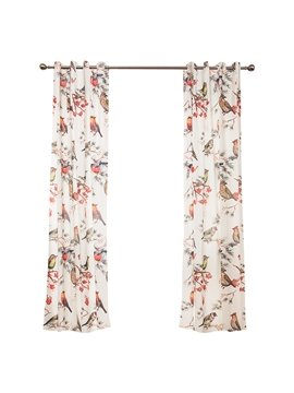 Country Style Bird Printing Window Decoration Custom Curtain