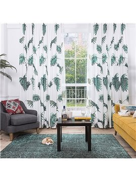 Rustic Palm Frond Printing Window Decoration Custom Curtain