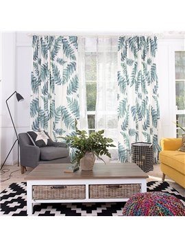 Concise Frond Printing Window Decoration Custom Curtain
