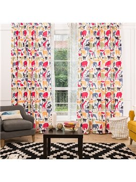 Fancy Colorful Animals Printing Window Decoration Custom Curtain