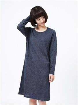 Combed Cotton Women 's Long - Sleeved Simple Fashion Home Dress