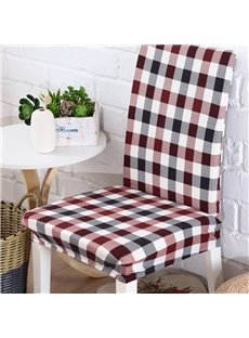 European Style Polyester Grid Print 2 Pieces Four Seasons Washable Chair Covers
