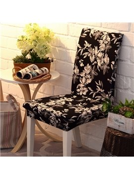 Black Beautiful Polyester Flowers Pattern 2 Pieces Four Seasons Washable Chair Covers