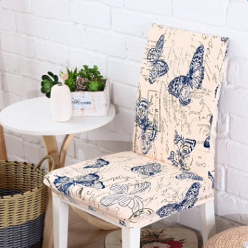Fresh Polyester Butterflies Print Design Washable Four Seasons 2 Pieces Chair Covers