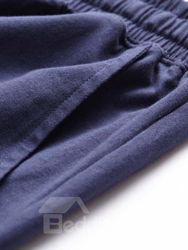 Washed Combed Cotton Solid Color Natural Curling Man Shorts Pants Home Dress