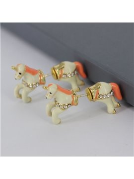 Lovely Horse Design Enamel Glaze Earrings