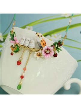 Colorful Owls with Floral Design Enamel Glaze Statement Necklace