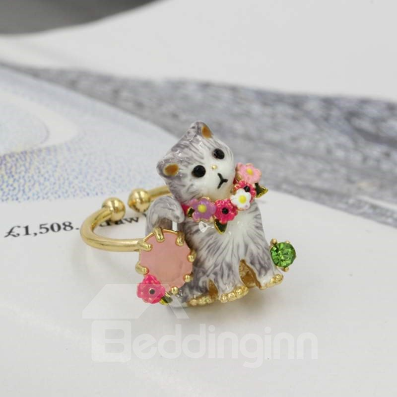 Cute Cat Design Enamel Glaze Opening Ring