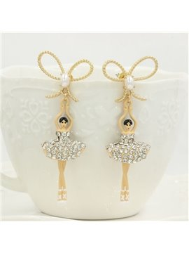 Attractive Ballet Dancer Design Bowknot Earrings