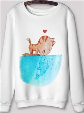 Long Sleeve Cat Kiss Fish Pattern White Printed Hoodie