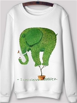 Pretty Long Sleeve Cartoon Elephant Pattern Printed Hoodie