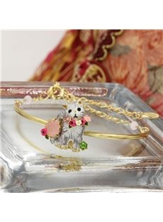 Vivid Cat Design Women Alloy Bangle Bracelet
