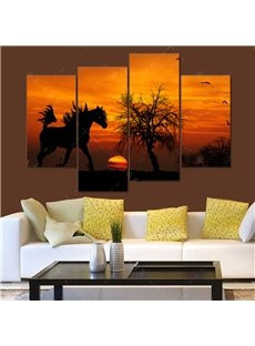 Fancy Sunset Scenery Horse Pattern 4 Panels None Framed Decorative Wall Art Prints