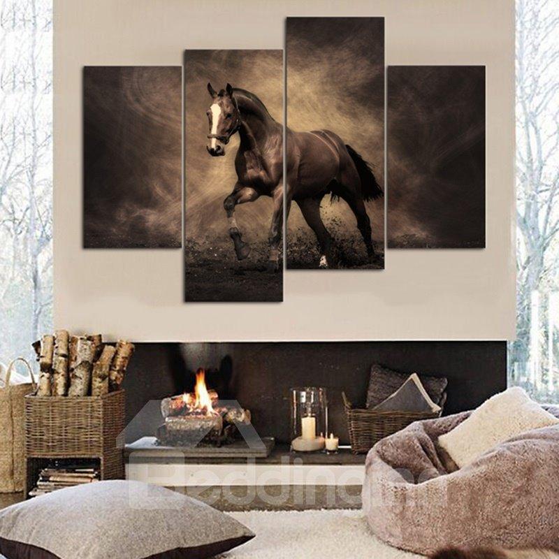 Stunning Horse Pattern 4 Panels Canvas None Framed Decorative Wall Art Prints