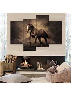 Stunning Unique Design Horse Pattern 4 Panels Canvas None Framed Decorative Wall Art Prints