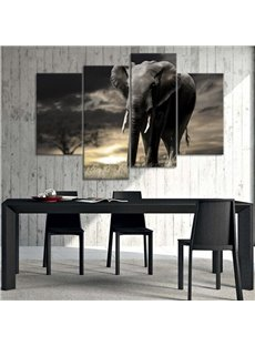 Elephant in Dawn Simple Style 4 Pieces Canvas Waterproof and Eco-friendly Framed Prints