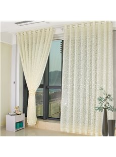 Modern Fashion Beige Floral Living Custom Sheer Curtain