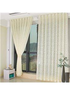 Modern Fashion Beige Floral Living Custom Sheer Curtain