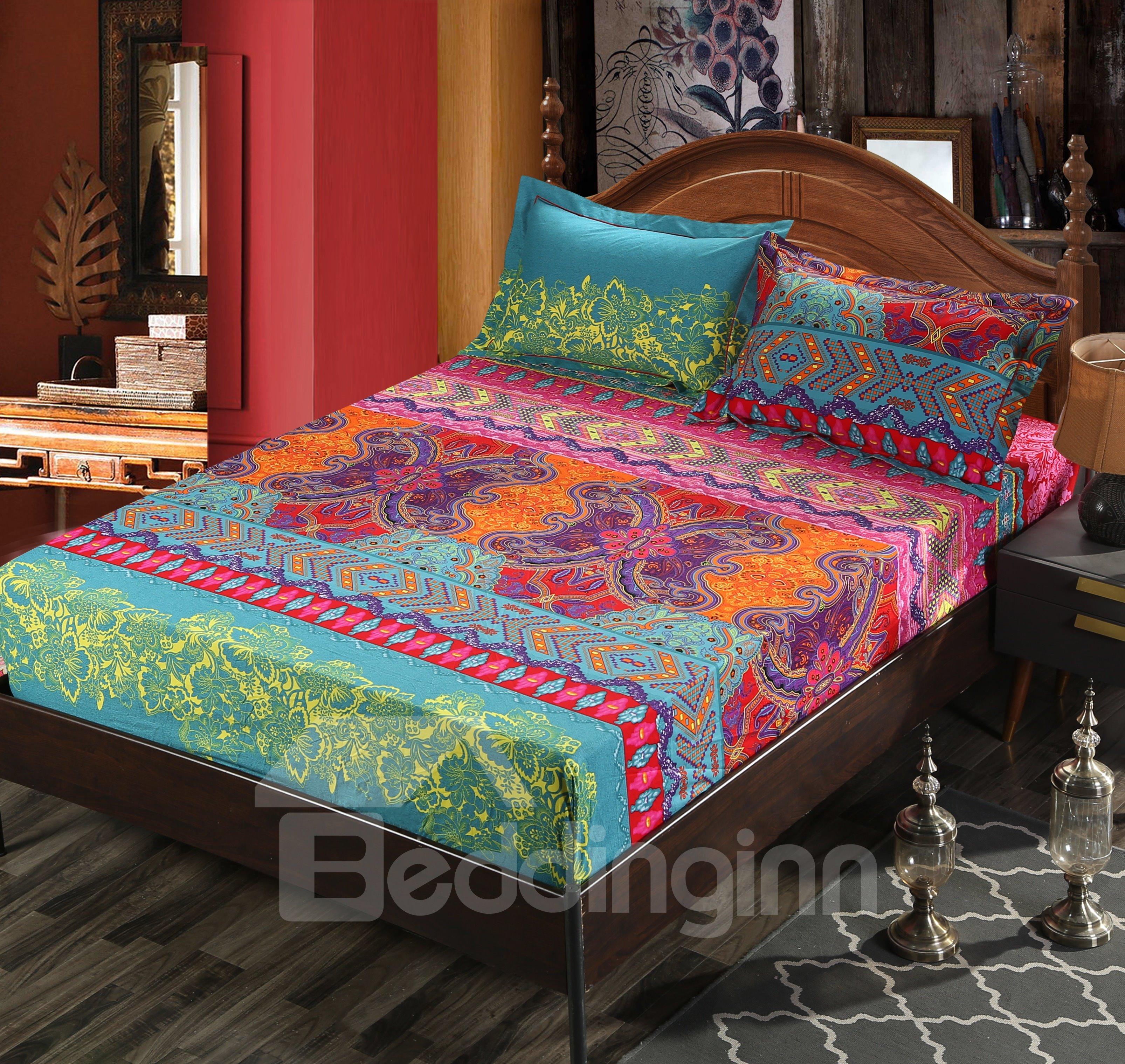 Fabulous Damask Print Pink 4-Piece Cotton Duvet Cover Sets
