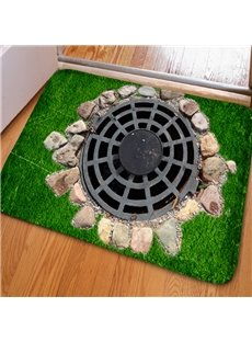 Fancy Rectangle Country Style Manhole Cover Print Non Slip Doormat